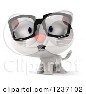 Clipart Of A 3d Bespectacled White Kitten Royalty Free Illustration by Julos