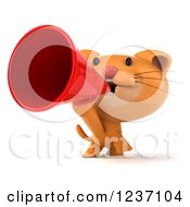 Clipart Of A 3d Ginger Cat Announcing With A Megaphone 2 Royalty Free Illustration