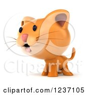 Clipart Of A 3d Ginger Cat Facing Left Royalty Free Illustration