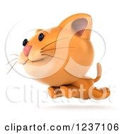 Clipart Of A 3d Ginger Cat Running Royalty Free Illustration