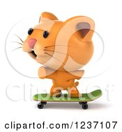 Clipart Of A 3d Ginger Cat Skateboarding Royalty Free Illustration