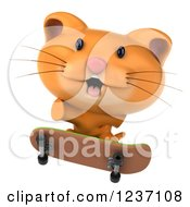 Clipart Of A 3d Ginger Cat Skateboarding 2 Royalty Free Illustration