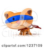 Clipart Of A 3d Super Hero Ginger Cat Royalty Free Illustration