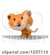 Clipart Of A 3d Ginger Cat Surfing Royalty Free Illustration