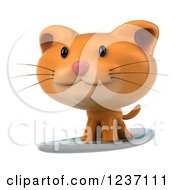 Clipart Of A 3d Ginger Cat Surfing 2 Royalty Free Illustration