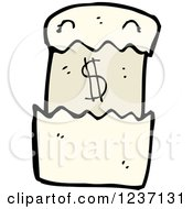 Clipart Of A Bill With A Dollar Symbol Royalty Free Vector Illustration
