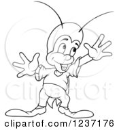 Clipart Of A Outlined Happy Cricket Holding His Arms Up Royalty Free Vector Illustration by dero