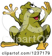 Clipart Of A Female Frog Looking Back And Holding Her Arms Up Royalty Free Vector Illustration by dero