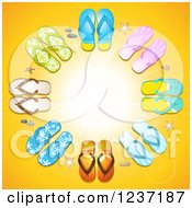 Clipart Of A Shining Sun With Flip Flop Rays Royalty Free Vector Illustration