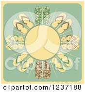 Clipart Of A Retro Sun With Rays And Flip Flops Royalty Free Vector Illustration by elaineitalia