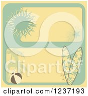 Clipart Of Retro Yellow And Turquoise Summer Beach Borders Royalty Free Vector Illustration