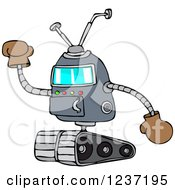 Clipart Of A Robot Holding Up A Gloved Hand Royalty Free Vector Illustration by djart