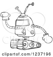 Clipart Of A Black And White Robot Holding Up A Gloved Hand Royalty Free Vector Illustration by djart