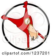 Clipart Of A Circus Acrobatic Man Spinning Upside Down In A Cyr Wheel Royalty Free Illustration