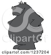 Clipart Of A Stern Black Bear With His Hands On His Hips Royalty Free Vector Illustration