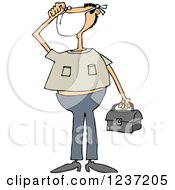 Clipart Of A White Man Wearing A Mask And Holding A Bag Royalty Free Vector Illustration by Dennis Cox