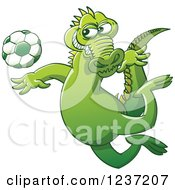 Clipart Of A Crocodile Kicking A Soccer Ball Royalty Free Vector Illustration by Zooco