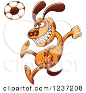 Clipart Of A Brown Dog Plaing Soccer Royalty Free Vector Illustration
