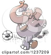 Clipart of an Elephant Kicking a Soccer Ball - Royalty Free Vector Illustration by Zooco