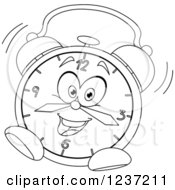 Clipart Of A Black And White Ringing Alarm Clock Royalty Free Vector Illustration by yayayoyo