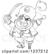 Clipart Of A Black And White Pirate Captain With A Hook Hand And Sword Royalty Free Vector Illustration