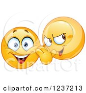 Clipart Of A Moodie Smiley Gossiping And Telling Secrets Royalty Free Vector Illustration