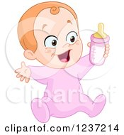 Clipart Of A Happy Caucasian Baby Girl Holding A Bottle Royalty Free Vector Illustration