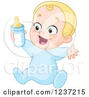 Blond Happy Caucasian Baby Boy Holding A Bottle