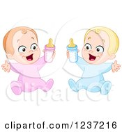 Clipart Of A Caucasian Baby Boy And Girl Holding Bottles Royalty Free Vector Illustration