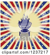 Clipart Of A Flaming Bbq Grill Over American Stars And Stripes Royalty Free Vector Illustration by Pushkin