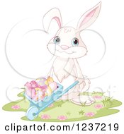 Clipart Of A Bunny Rabbit Pushing Easter Eggs In A Wheelbarrow Royalty Free Vector Illustration