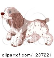 Clipart Of A Cute Walking Spaniel Dog Royalty Free Vector Illustration by Pushkin