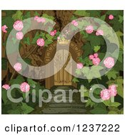 Clipart Of A Crown Over A Gate To A Secret Garden Royalty Free Vector Illustration by Pushkin