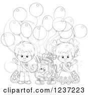 Clipart Of An Outlined School Boy And Girl With A Backpack And Party Balloons Royalty Free Vector Illustration