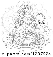 Clipart Of A Black And White Chick Looking Around An Easter Cake Royalty Free Vector Illustration