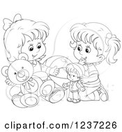 Clipart Of Black And White Two Happy Girls Playing With Toys Royalty Free Vector Illustration