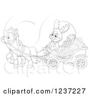 Clipart Of An Outlined Male Easter Bunny Rabbit Steering A Horse Drawn Cart Full Of Eggs Royalty Free Vector Illustration