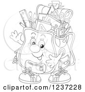 Clipart Of A Black And White Happy Waving Backpack Full Of School Supplies Royalty Free Vector Illustration by Alex Bannykh