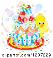 Clipart Of A Cute Yellow Chick Looking Around An Easter Cake Royalty Free Vector Illustration by Alex Bannykh