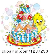 Clipart Of A Cute Chick Looking Around An Easter Cake Royalty Free Vector Illustration by Alex Bannykh