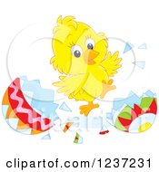 Clipart Of A Happy Easter Chick Jumping And Hatching Grom An Egg Royalty Free Vector Illustration