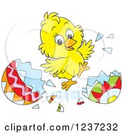 Clipart Of A Yellow Easter Chick Jumping And Hatching Grom An Egg Royalty Free Vector Illustration