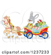 Clipart Of A Gray Male Easter Bunny Rabbit Steering A Horse Drawn Cart Full Of Eggs Royalty Free Vector Illustration