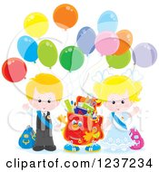 Clipart Of A Caucasian School Boy And Girl With A Backpack And Party Balloons Royalty Free Vector Illustration
