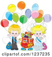 Clipart Of A Waving Caucasian School Boy And Girl With A Backpack And Party Balloons Royalty Free Vector Illustration by Alex Bannykh
