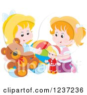 Clipart Of Two Happy Caucasian Girls Playing With Toys Royalty Free Vector Illustration