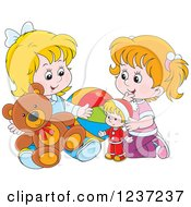 Clipart Of Two Happy White Girls Playing With Toys Royalty Free Vector Illustration