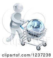 Clipart Of A 3d Silver Man Pushing A Globe In A Shopping Cart Royalty Free Vector Illustration
