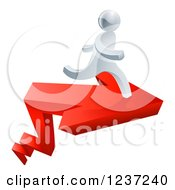 Clipart Of A 3d Successful Silver Man Running On A Red Arrow Royalty Free Vector Illustration