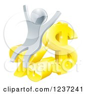 Clipart Of A 3d Cheering Silver Man With Gold And Percent Finance Symbols Royalty Free Vector Illustration